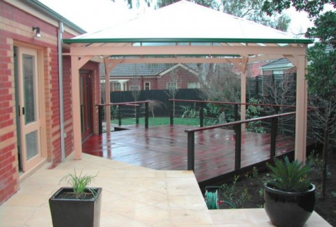 Aussie Coat on large decking area