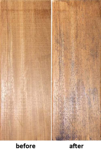 Iron staining after/before being exposed to grinding and water